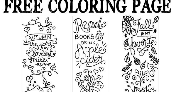 Apple Cider Coloring Pages : Free printable fall coloring page bookmarks