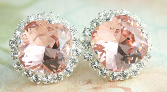 Blush pink crystal earrings | blush pink wedding | blush bridal jewelry