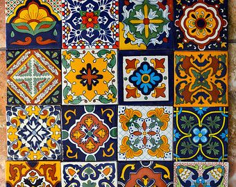 12 Mexican Talavera Tiles Handmade Hand Painted 4 X 4 Carreaux Decoratifs Poterie Talavera Peindre Des Carreaux