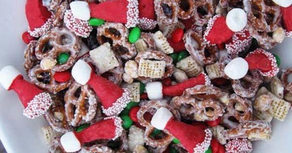Santa hat party mix. Christmas snack mix
