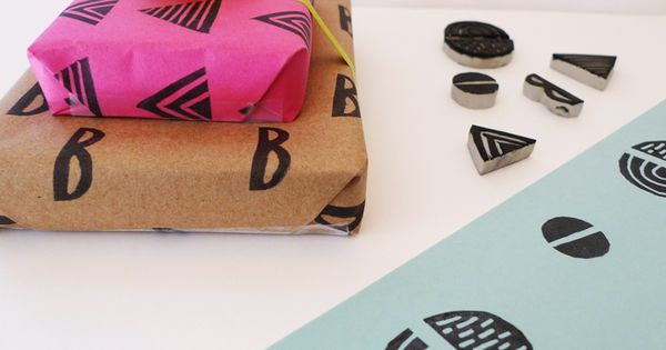 make your own gift wrapping paper with paper you already have. Add