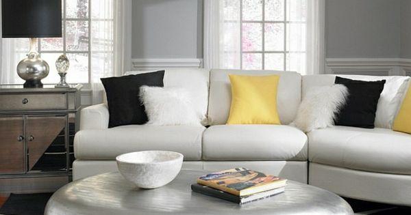 wohnzimmer farbgestaltung grau und gelb farbgestaltung grau wand gelb kissen wohnzimmer. Black Bedroom Furniture Sets. Home Design Ideas