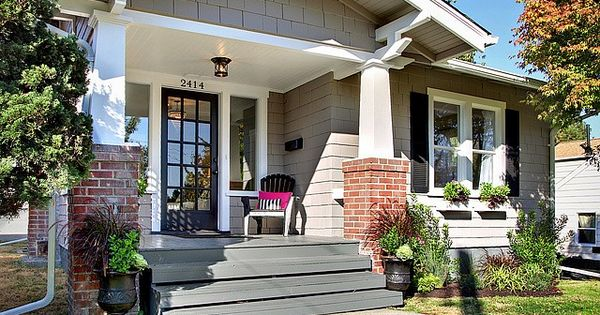 Love This Grey House With Brick And Porch Colors That Go