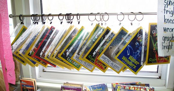 classroom library magazine display--page protectors and binder rings on a shower curtain