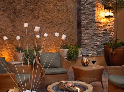Cozy outdoor space with fire pit and smores!!
