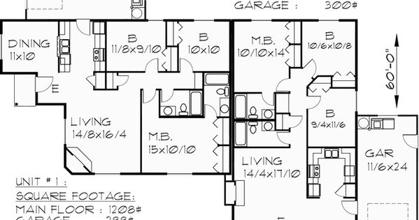 Main floor plan for d 440 one level duplex house plans for Up and down duplex plans