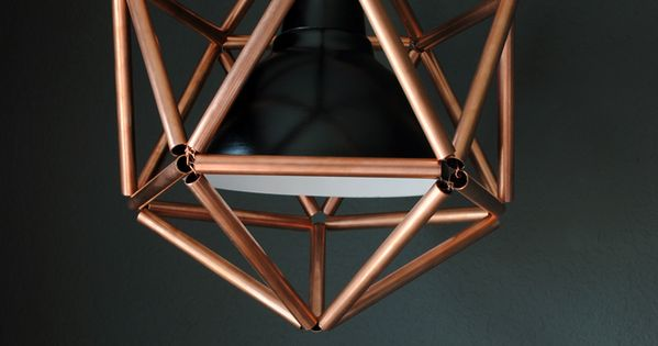 diy copper pipe icosahedron light fixture cuivre maison et diy lampe. Black Bedroom Furniture Sets. Home Design Ideas