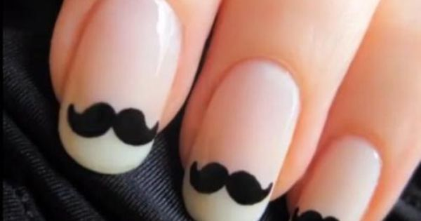#beauty fashion woman style nails polish french manicure moustache