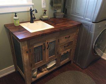 Rustic Tall Storage Reclaimed Barn Wood Cabinet W Tin Doors Etsy Rustic Vanity Reclaimed Barn Wood Vanity Rustic Bathroom Vanities