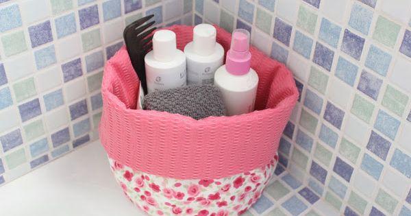 Tutorial c mo hacer una bonita cesta de tela que tambi n - Cestos de tela ...