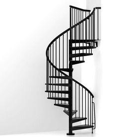 Arke Eureka 63 In X 10 Ft Black Spiral Staircase Kit K21009   Outdoor Spiral Staircase Lowes   Treads Spiral   Wood Treads   Arke Eureka   Glass Railings   Slip Stair