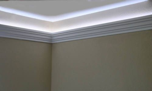 Install Led Rope And Indirect Lighting In Foam Crown Molding Foam Crown Molding Crown Molding Lights Indirect Lighting