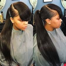 Long Hairstyles For Black Women With Bangs 64