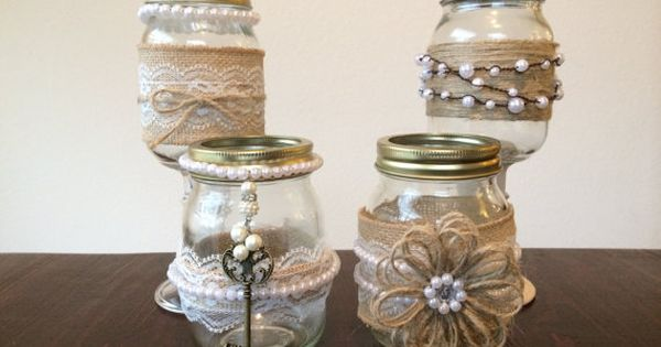 decorated mason jars for weddings shabby chic jars decorated with burlap lace and 3341