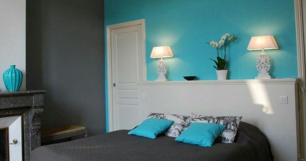 Mur turquoise gris chambre garcon pinterest murs - Chambre bleu turquoise et gris ...