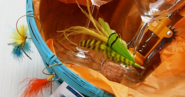 Awesome gift basket for the wine and fishing lover 2 wine for Gift ideas for fishing lovers