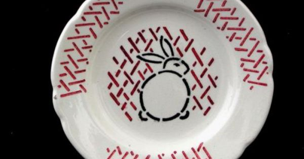 Pin By Mary Sue Ireland On China Porclain Paste Black And Red Bunny Rabbit Stencils