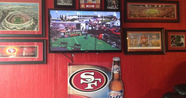 added a tv to my 49ers room 49ers pinterest 49ers. Black Bedroom Furniture Sets. Home Design Ideas