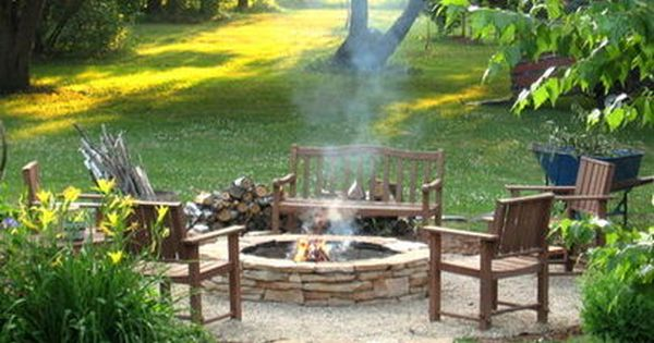 Rustic Fire Pit Area Designs | backyard landscape design with fire pit