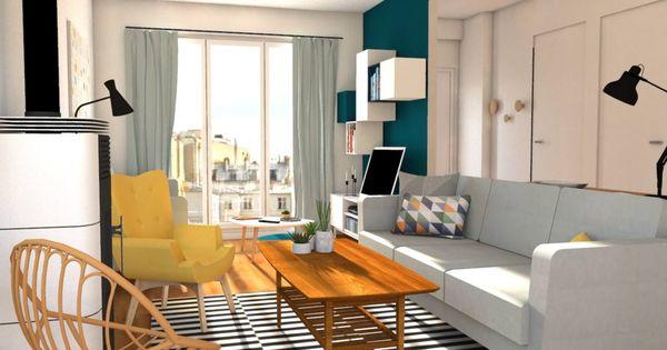 Un salon familiale tout en longueur transform par jessica for Salon familial
