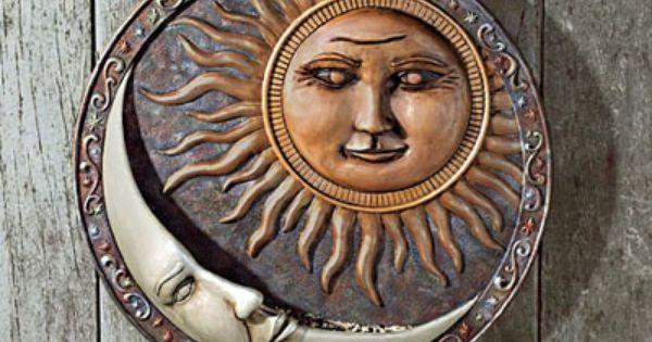 3D Vintage Celestial Sun Wall Plaque Plaster Antique Finish