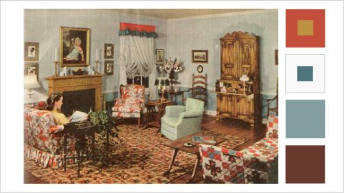 1940s Livingrooms With Vintage 40s Color Schemes Early American Homes Early American Decorating American Interior