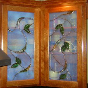Kitchen Cabinet Stained Glass Inserts Flowers Google Search Stained Glass Cabinets Stained Glass Stained Glass Projects