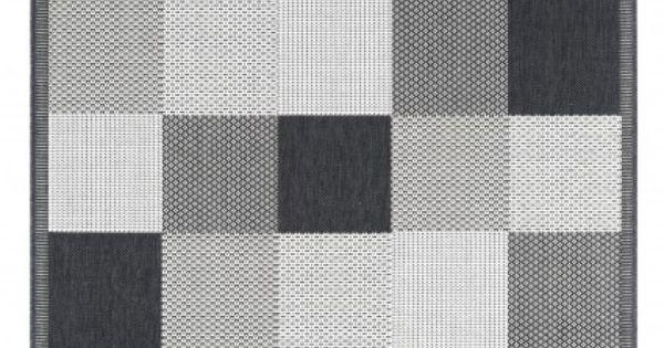 in outdoor teppich essenza squared schwarz wei. Black Bedroom Furniture Sets. Home Design Ideas