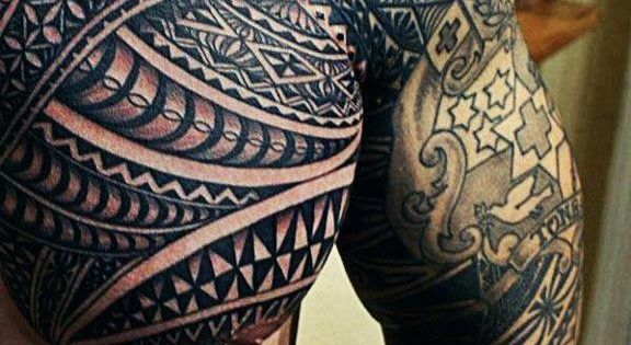 7ab4adbb311b5 Wicked Mens Tribal Chest And Arm Tattoo   Tattoos at Repinned.net