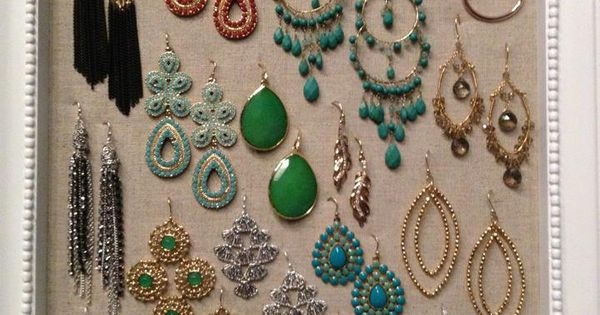 Earring organization / display on cork board.