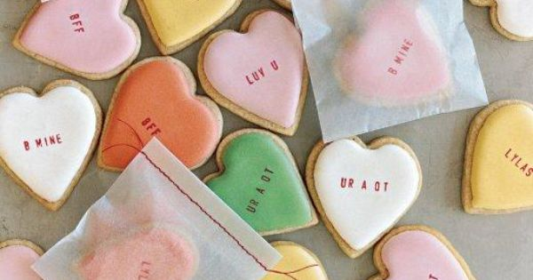 Once iced, these cookies need to dry completely overnight before being stamped with a message for your sweetheart.