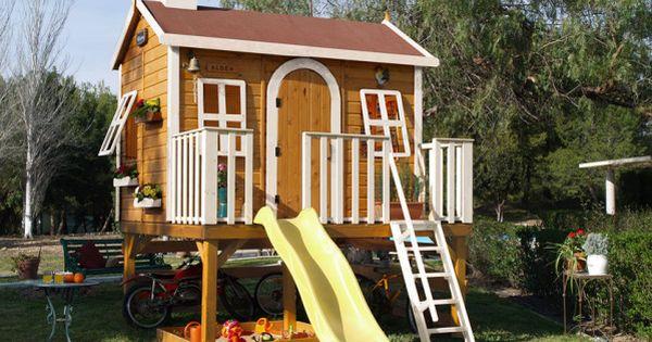 Casita de madera elevada modelo SUPER ALDEA ,,, Super sized playhouse!!!