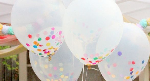 confetti-filled balloons rainbow camillestyles