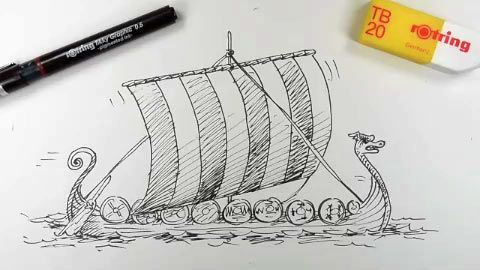 To Draw With Images Viking Longship 3rd Grade Art Lesson