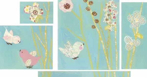 All a Twitter - Blue Set - Birds Canvas Wall Art |