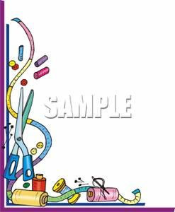 Clip Art Sewing Border Measuring Tape And Assorted Sewing Supplies Royalty Free Clipart Sewing Clipart Clip Art Borders Sewing Art