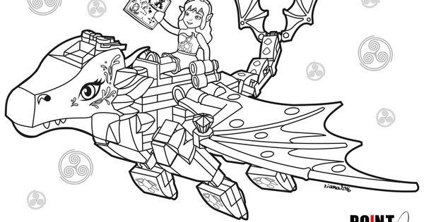disegni da colorare lego elves naida e merina il drago