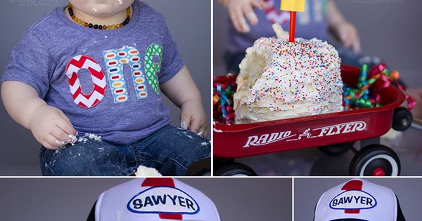 The Results: Sawyer's First Birthday Cake Smash - with toddler trucker hat