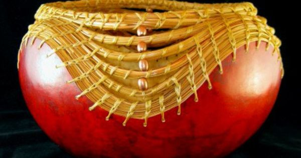 Needles And Beads Pine Needle Coiling On Gourd By Gourdsincostume 70 00 Pine Needle Baskets Basket Weaving Pine Needles