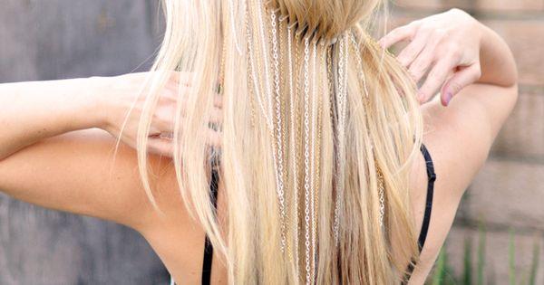 DIY Hanging Chain Headband. I just like her hair color