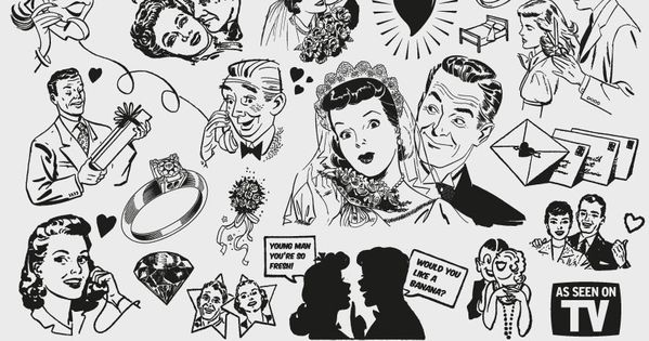 Free '50s Love themed clipart   Vintage Vectors   Royalty