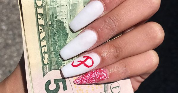 boyfriends initials.. #coffin #white #red #nails #stiletto ...