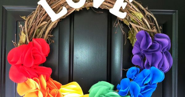 beautiful pride wreath gay pride by jennyCmoon on Etsy, $43.00