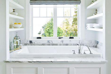 Love the storage shelves around the bathtub.