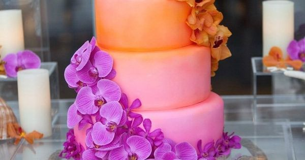 299.tropical-wedding-cake-inspiration-6, tropical wedding cake, purple, orange, floral, breathtaking, ombre