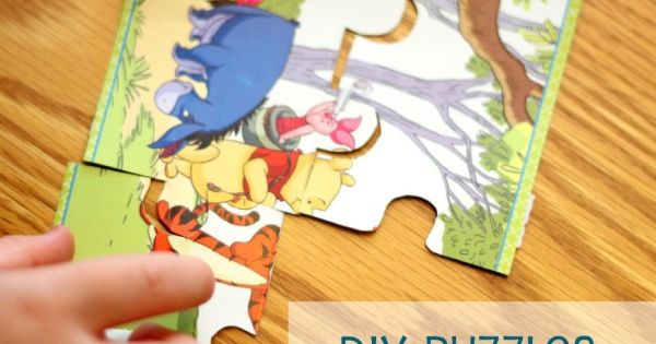 DIY puzzles using holiday cards. draw lines on back. let child cut