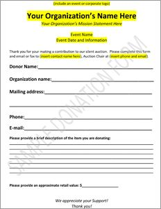 Download Our Sample Auction Donation Form That You Can Use To Send To Your Supporters To Increase Your Fundrais Donation Form Donation Letter Auction Donations