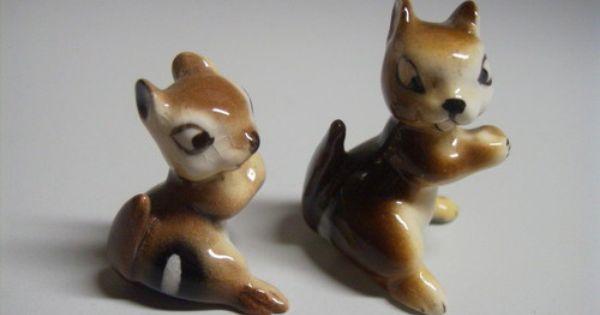 Hagen Renaker Chipmunks Miniature 2 Pc Vintage Baby Mom Tiny Mini Collectible Miniature Figurines Porcelain Animal Miniature Animals