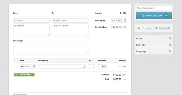 paydirt - Free invoice creator u2013 make an invoice to save, print - invoice make