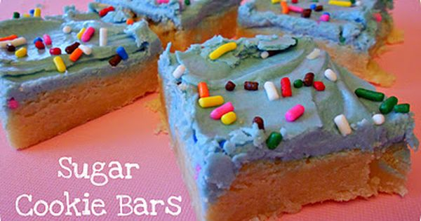 Sugar Cookie Bars and Mom's Frosting Recipe | Six Sisters Stuff (also